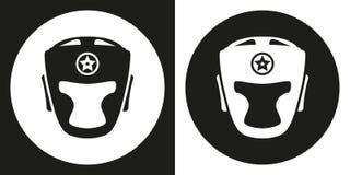 Icona del casco di pugilato Casco di pugilato della siluetta su un fondo in bianco e nero Strumentazione di sport Illustrazione d Fotografia Stock