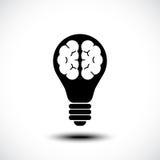 Icona del cervello della lampadina Fotografie Stock