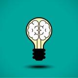 Icona del cervello della lampadina Fotografie Stock Libere da Diritti