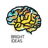 Icona del cervello isolata su fondo bianco Fotografie Stock