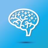 Icona del cervello, pensiero positivo Fotografie Stock Libere da Diritti
