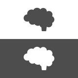Icona del cervello su fondo in bianco e nero Immagine Stock Libera da Diritti