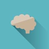 Icona del cervello su fondo blu Immagini Stock