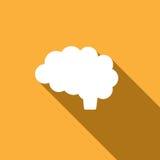 Icona del cervello su fondo giallo Immagine Stock Libera da Diritti