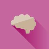 Icona del cervello su fondo rosa Fotografia Stock Libera da Diritti