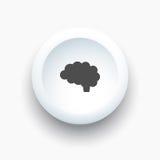 Icona del cervello su un bottone bianco 3D Fotografie Stock