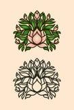 Icona del cespuglio della magnolia con i fiori ed i germogli royalty illustrazione gratis