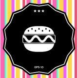 Icona del cheeseburger o dell'hamburger Immagine Stock Libera da Diritti