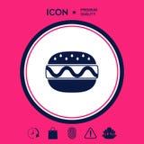 Icona del cheeseburger o dell'hamburger Fotografia Stock Libera da Diritti