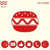 Icona del cheeseburger o dell'hamburger Immagini Stock Libere da Diritti
