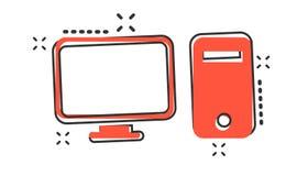 Icona del computer del fumetto di vettore nello stile comico Controlli il illust del segno illustrazione vettoriale