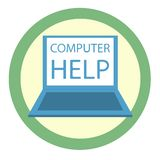 """Icona del computer portatile con le parole """"aiuto del computer """" Grafica vettoriale nello stile piano illustrazione vettoriale"""