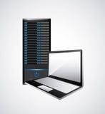 Icona del computer portatile e di web hosting Progettazione di tecnologia Grafico di vettore Fotografie Stock