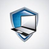 Icona del computer portatile e di web hosting Progettazione di tecnologia Grafico di vettore Fotografia Stock