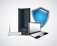 Icona del computer portatile e di web hosting Progettazione di tecnologia Grafico di vettore Immagine Stock
