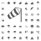Icona del cono di vento Icone di vettore del tempo messe Fotografia Stock Libera da Diritti