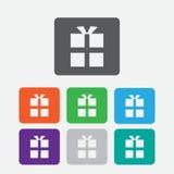 Icona del contenitore di regalo Bottoni rotondi del quadrato di colore Fotografia Stock Libera da Diritti