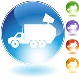 Icona del cristallo del camion di immondizia illustrazione di stock