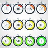 Icona del cronometro, illustrazione di vettore, simbolo, accuratezza, insieme Immagini Stock
