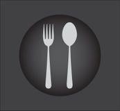 Icona del cucchiaio e della forchetta - segno del ristorante, bottone nero Fotografia Stock