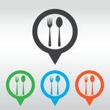 Icona del cucchiaio e della forchetta - segno del ristorante, perno della mappa dell'icona Immagine Stock Libera da Diritti