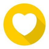 Icona del cuore con ombra lunga Immagini Stock