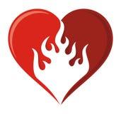 Icona del cuore della fiamma Immagini Stock