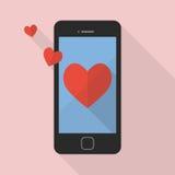 Icona del cuore sullo Smart Phone Fotografie Stock Libere da Diritti