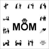 Icona del diamante della mamma Generi \ 'insieme universale delle icone del giorno di s per il web ed il cellulare royalty illustrazione gratis