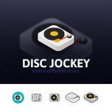 Icona del disc jockey nello stile differente Fotografia Stock