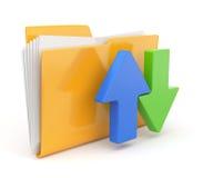 Icona del dispositivo di piegatura 3d. Concetti di trasferimento della data. Immagine Stock