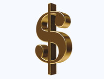 Icona del dollaro dell'oro Fotografie Stock Libere da Diritti