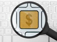 Icona del dollaro sotto la lente d'ingrandimento Fotografia Stock
