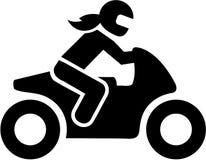 Icona del driver della donna della motocicletta royalty illustrazione gratis