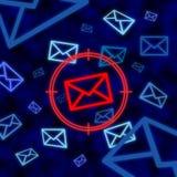 Icona del email mirata a tramite sorveglianza elettronica in Cyberspace Fotografie Stock Libere da Diritti