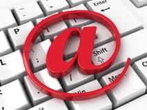 Icona del email sulla tastiera Fotografia Stock Libera da Diritti