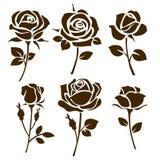Icona del fiore Insieme delle siluette rosa decorative illustrazione di stock