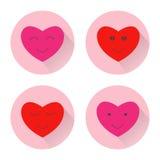 Icona del fronte di sorriso del cuore Illustrazione piana di colore di progettazione con ombra lunga Fotografia Stock