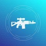 Icona del fucile di assalto, pistola con vista ottica Immagine Stock
