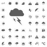 Icona del fulmine della nuvola Icone di vettore del tempo messe Fotografia Stock Libera da Diritti