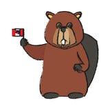 Icona del fumetto del castoro Fotografie Stock Libere da Diritti