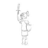 Icona del fumetto del cavaliere Fotografie Stock