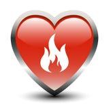 Icona del fuoco di figura del cuore illustrazione di stock
