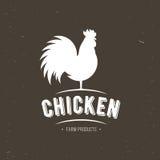 Icona del gallo rubinetto pollame Segno fresco dell'azienda agricola Logo della carne dell'azienda agricola di pollo, distintivi, Immagine Stock