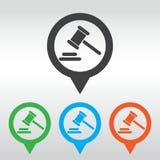 Icona del giudice del martello martello legale di legge del martelletto perno della mappa dell'icona Fotografia Stock