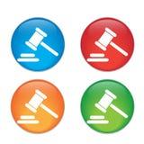 Icona del giudice del martello martello legale di legge del martelletto Vetro Fotografia Stock
