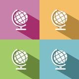 Icona del globo con ombra Immagini Stock