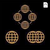 Icona del globo dell'oro Illustrazione lucida di concetto di vettore di industria di affari della terra, web del mondo largamente illustrazione di stock