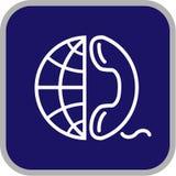Icona del globo e del telefono di vettore Fotografia Stock