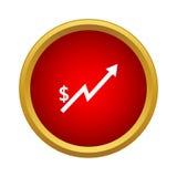 Icona del grafico di aumento del dollaro nello stile semplice Fotografie Stock